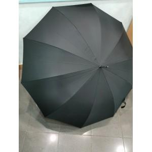 Parapluie manuel noir manche en bois